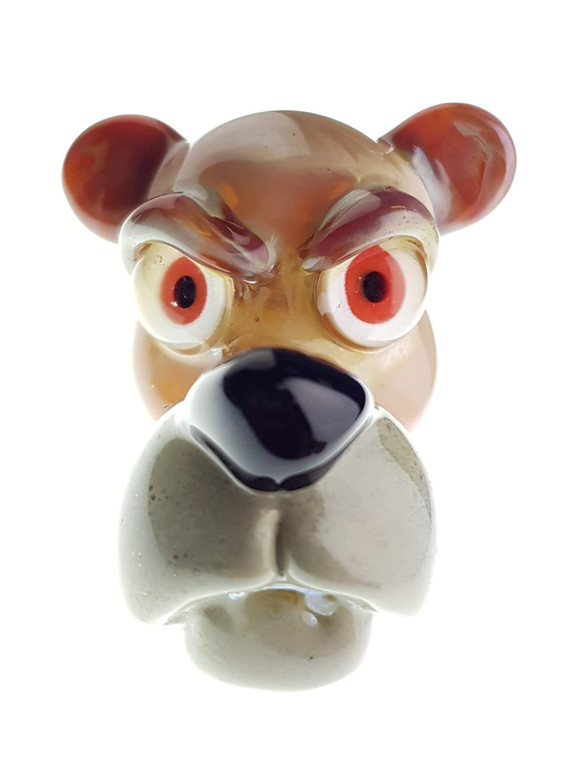 CAL SMITH - Animal Head Glass Pendant - Light Brown Bear