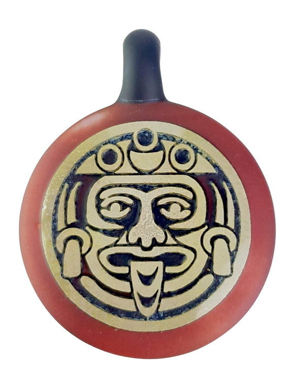 THINKBORO - Heady Glass Pendant w/ 3D Design - Mayan / Aztec