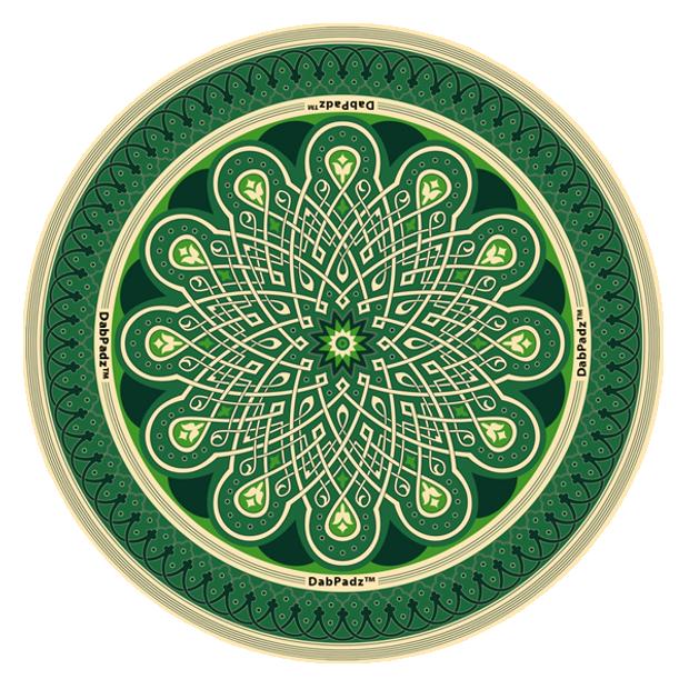 "DABPADZ - 8"" Bong Pad & Dab Rig Pad - Green Mandala"