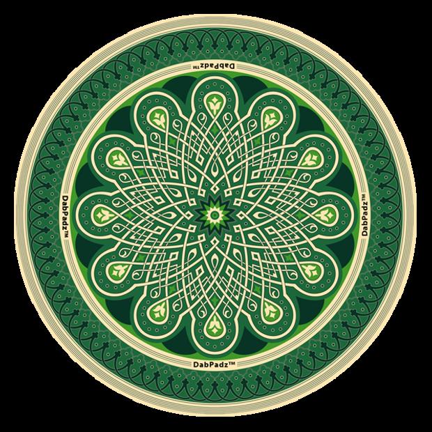 "DABPADZ - 5"" Bong Pad & Dab Rig Pad - Green Mandala"