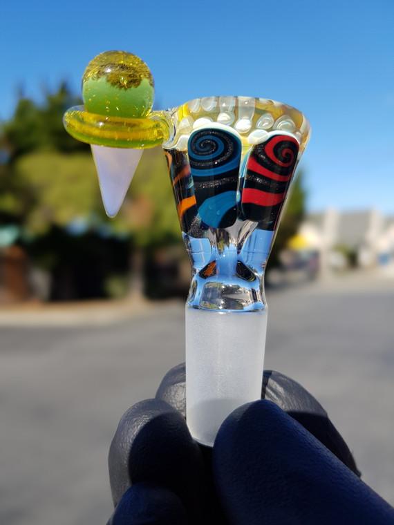 CHUNK - Single Hole Thumbprint Slide w/ Ice Cream Handle & 14mm Joint - #1