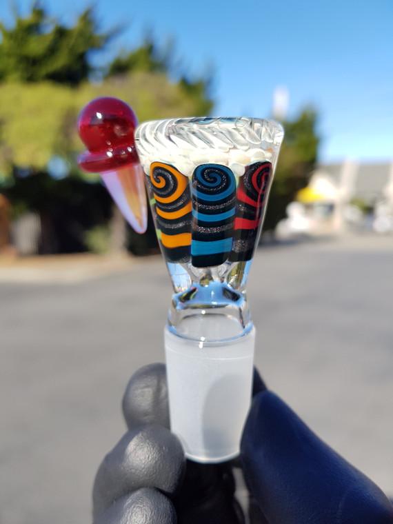 CHUNK - Single Hole Thumbprint Slide w/ Ice Cream Handle & 18mm Joint - #2