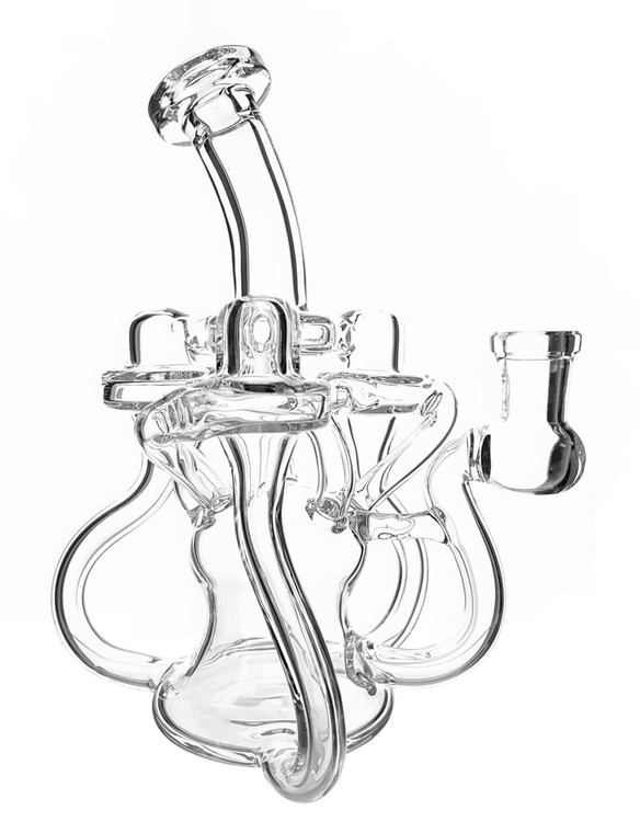 EL CHAPO - Triple Recycler w/ 2-hole Perc & 14mm Female Joint - Clear