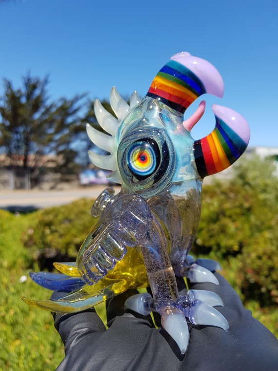 RJ - Double Rainbow Beak Macaw Dab Rig w/ 10mm Female Joint (CFL Chaos)