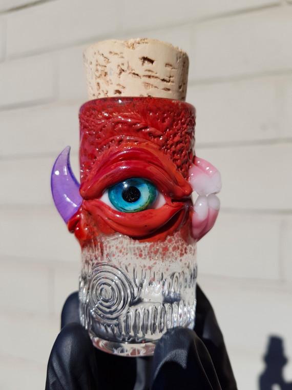 MAZET - Eyeball Chomper Nug Jar with Cork Top - Red