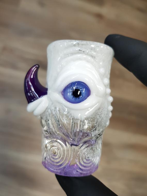 MAZET - Eyeball & Horn Shot Glass / Q-Tip Holder - White / Purple
