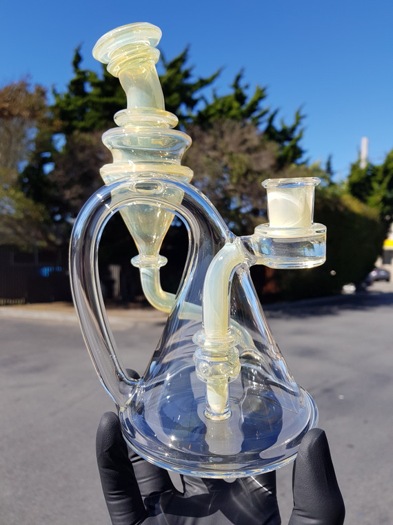 CERIO - Quick Draw Recycler Rig w/ 14mm Female Joint - Watery Wood Grain Opal