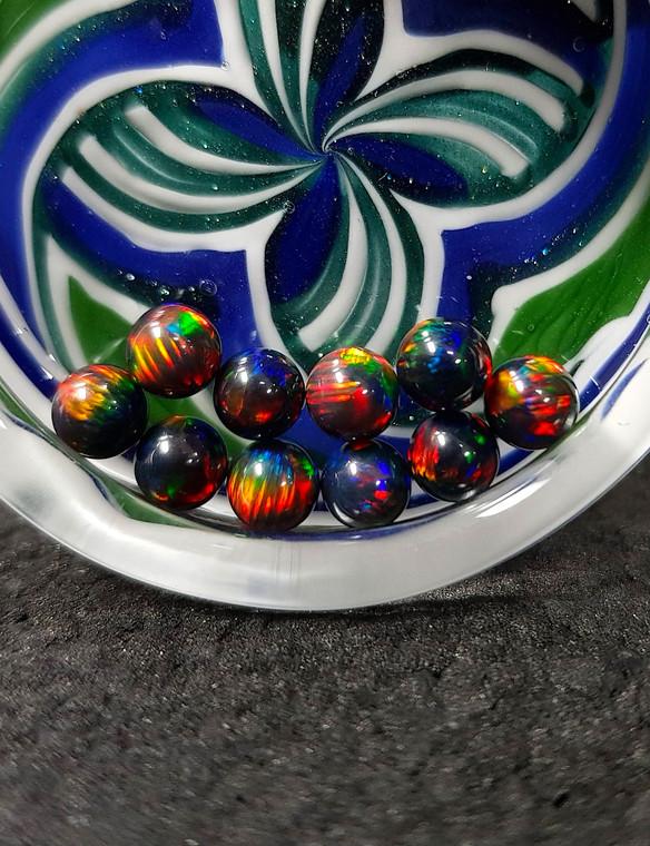 QUARTZ TECH - 5mm Opal Banger Beads / Dab Pearls - Black / Red Fire