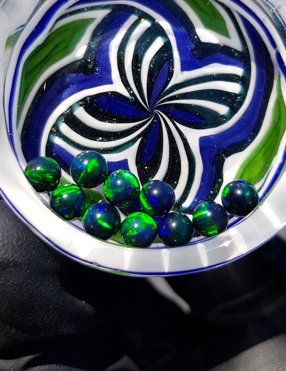 QUARTZ TECH - 5mm Opal Banger Beads / Dab Pearls - Black / Green Fire