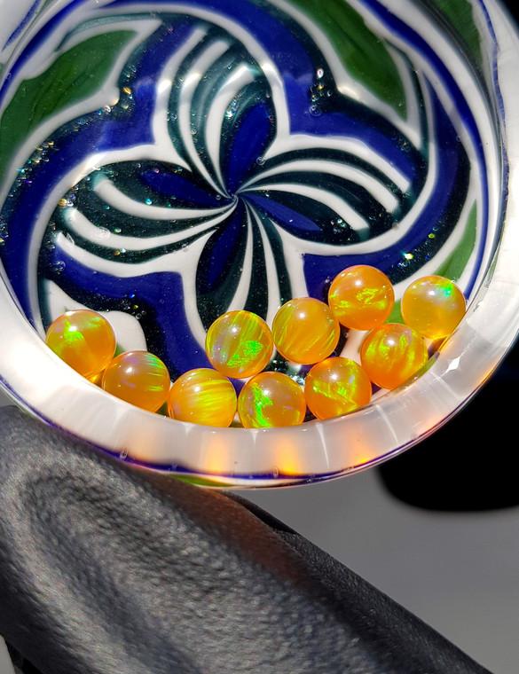 QUARTZ TECH - 5mm Opal Banger Beads / Dab Pearls - Orange / Green Fire