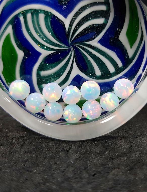 QUARTZ TECH - 5mm Opal Banger Beads / Dab Pearls - White / Red Fire