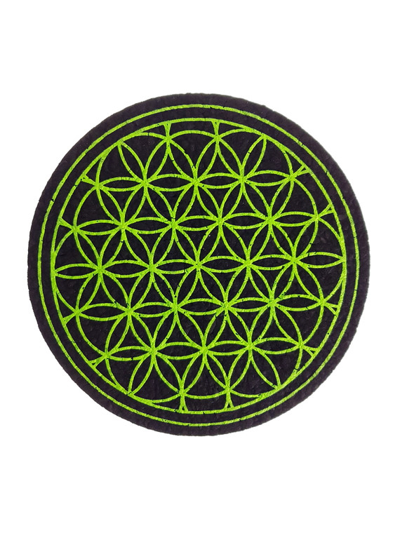 "MOODMATS - 5"" Round Bong Pad & Dab Rig Coaster - Lime Flower (UV Reactive)"