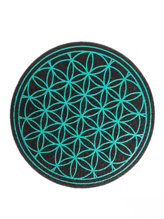 "MOODMATS - 8"" Round Bong Pad & Dab Rig Coaster - Turquoise Flower (UV Reactive)"