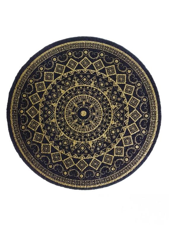 """MOODMATS - 8"""" Round Bong Pad & Dab Rig Coaster - Gold Antique"""