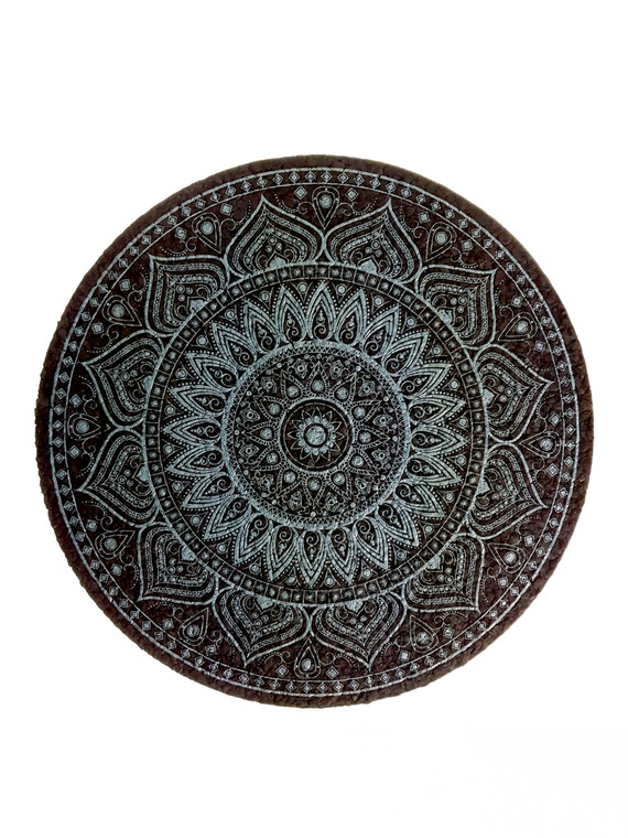 "MOODMATS - 8"" Round Bong Pad & Dab Rig Coaster - Slate Dala (UV Reactive)"
