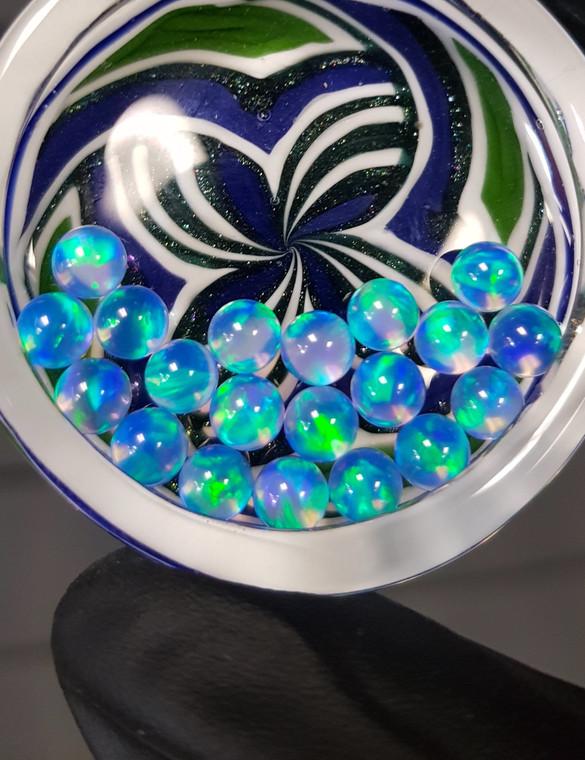QUARTZ TECH - 5mm Opal Banger Beads / Dab Pearls - Blue / Green Fire