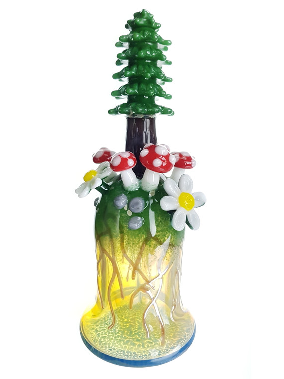LOS 1 GLASS - Tree Dab Rig w/ Daisies and Mushrooms - #2