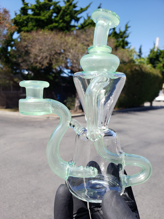 HEART & MIND GLASS - Double Uptake Klein Recycler w/ 10mm Female Joint - #1