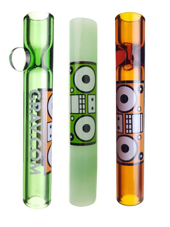 GRAV LABS - Glass Chillum Taster Pipes w/ Boombox Label (Pick a Color)