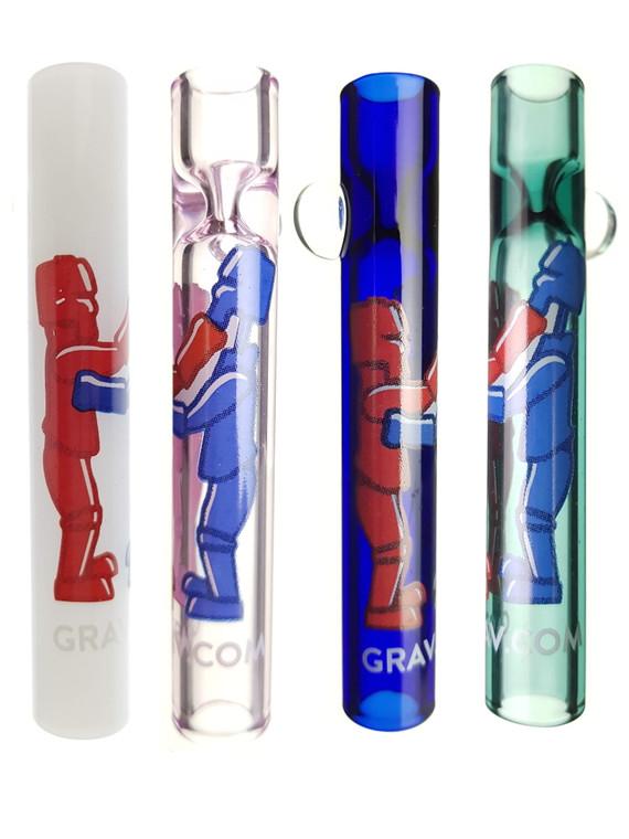 GRAV LABS - Glass Chillum Taster Pipes w/ Rock 'em Sock 'em Label (Pick a Color)