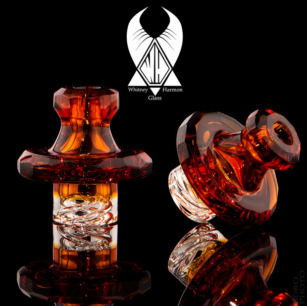 WHITNEY HARMON - Mr. Twister Faceted Glass Spinner Carb Cap - Amber #1