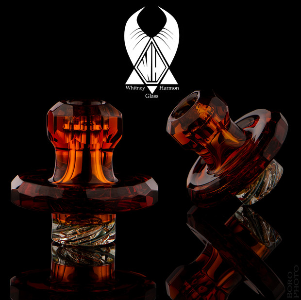 WHITNEY HARMON - Mr. Twister Faceted Glass Spinner Carb Cap - Amber #2