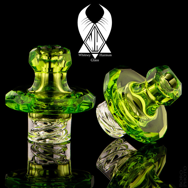 WHITNEY HARMON - Mr. Twister Faceted Glass Spinner Carb Cap - Lime #2