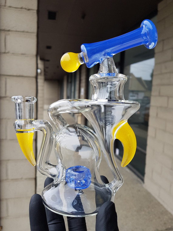 AARON B - Heady Recycler Rig w/ 4-hole Perc & 14mm Female Joint - Blue / Yellow