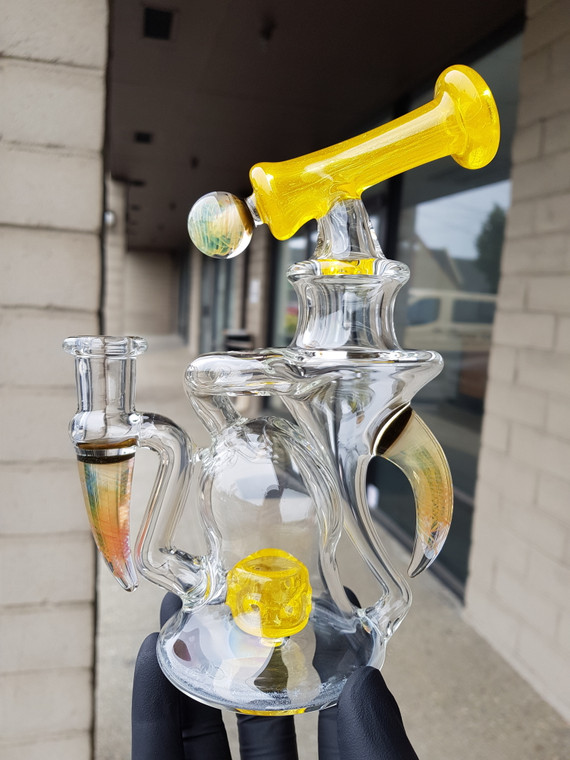 AARON B - Heady Recycler Rig w/ 4-hole Perc & 14mm Female Joint - Lemon / Fume