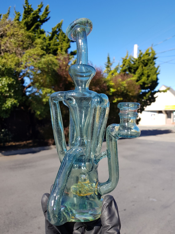 SPUNOUT GLASS - Quad Up Double Down Recycler w/ 14mm Female Joint - Hydra (CFL)