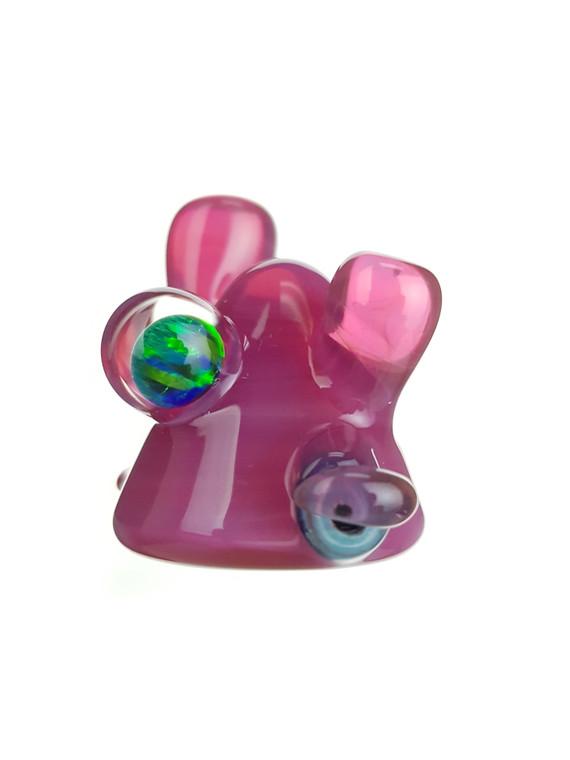 LERK THE WORLD - Glass Lerk Head Pendant w/ Opal Sphere - Telemagenta