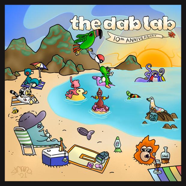 """MOODMATS - 8"""" Square Bong Pad & Dab Rig Coaster - The Dab Lab 10th Anniversary"""