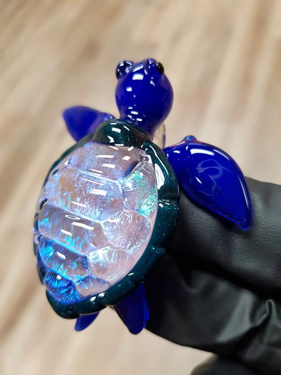 "TURTLE TIME - Glass ""Honu"" Sea Turtle Pendant w/ Dichro Shell - Deja Blue"