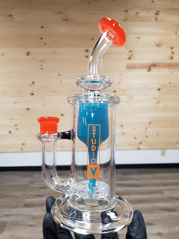STUDIO V - Incycler Dab Rig w/ 14mm Female Joint - Aqua/Orange