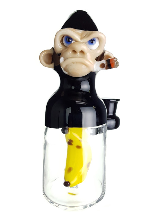 THE GLASS FISH - Tokin Chimp Dab Rig w/ 14mm Female Joint & Carb Cap - Black