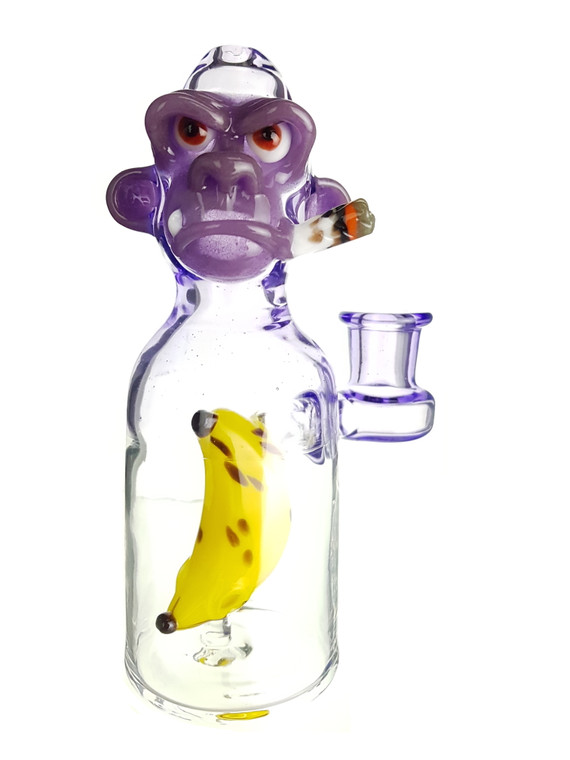 THE GLASS FISH - Tokin Chimp Dab Rig w/ 14mm Female Joint & Carb Cap - Grape