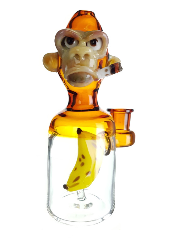 THE GLASS FISH - Tokin Chimp Dab Rig w/ 14mm Female Joint & Carb Cap - Amber