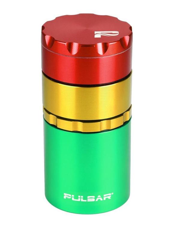 """PULSAR - 2"""" Grinder / Storage Container - Rasta"""