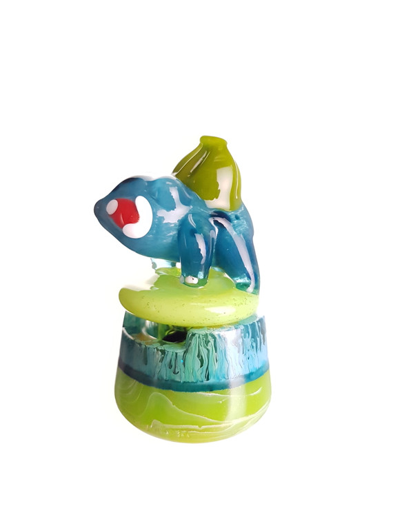 DANI GIRL - Pokemon Glass Spinner Carb Cap w/ Resin Stand & Pokeball Pearl - Bulbasaur