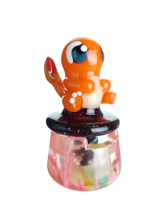 DANI GIRL - Pokemon Glass Spinner Carb Cap w/ Resin Stand & Pokeball Pearl - Charmander