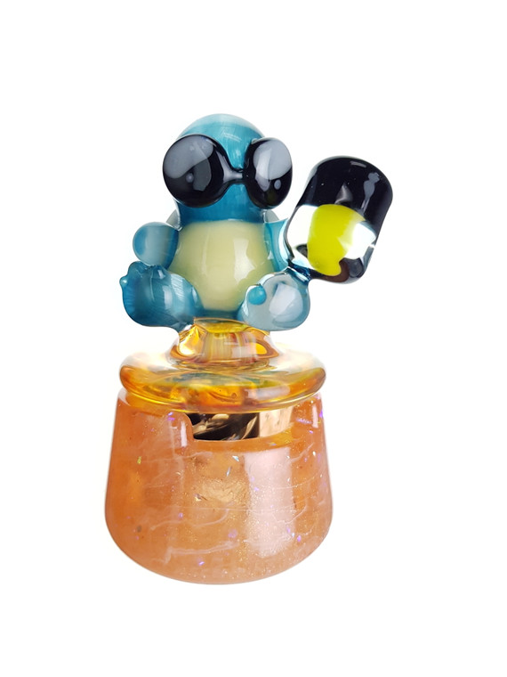 DANI GIRL - Pokemon Glass Spinner Carb Cap w/ Resin Stand & Pokeball Pearl - Squirtle Squad
