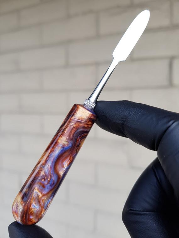 HEADYTOOLZ - Stainless Steel Dabber w/ Handmade Multi-Color Resin Handle - #4