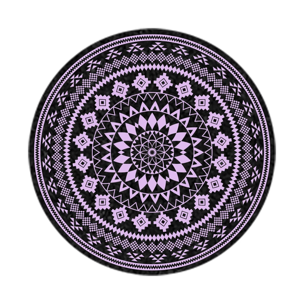 """MOODMATS - 8"""" Round Bong Pad & Dab Rig Coaster - Lilac Azteca"""