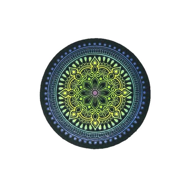 "MOODMATS - 5"" Round Bong Pad & Dab Rig Coaster - Limeade Les Fleurs"