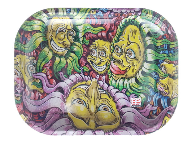 """DUNKEES - Metal Rolling Tray (5.5"""" x 7"""") - Flower Faces"""