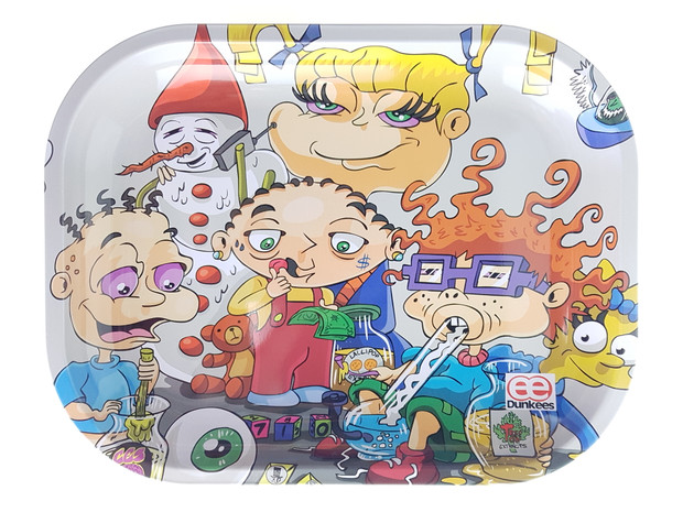 """DUNKEES - Metal Rolling Tray (5.5"""" x 7"""") - Kids Will Be Kids"""