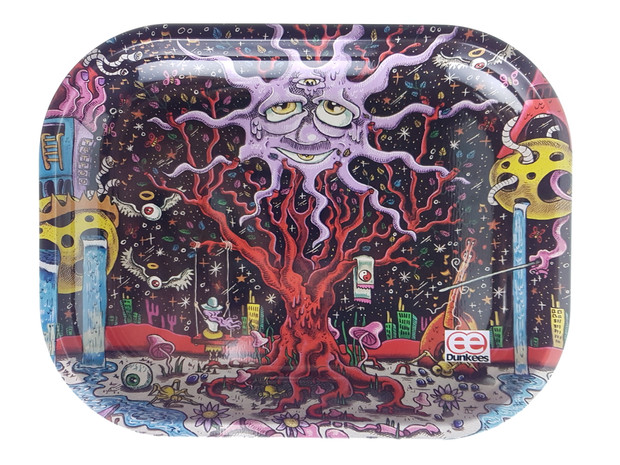 """DUNKEES - Metal Rolling Tray (5.5"""" x 7"""") - Happy Tree"""