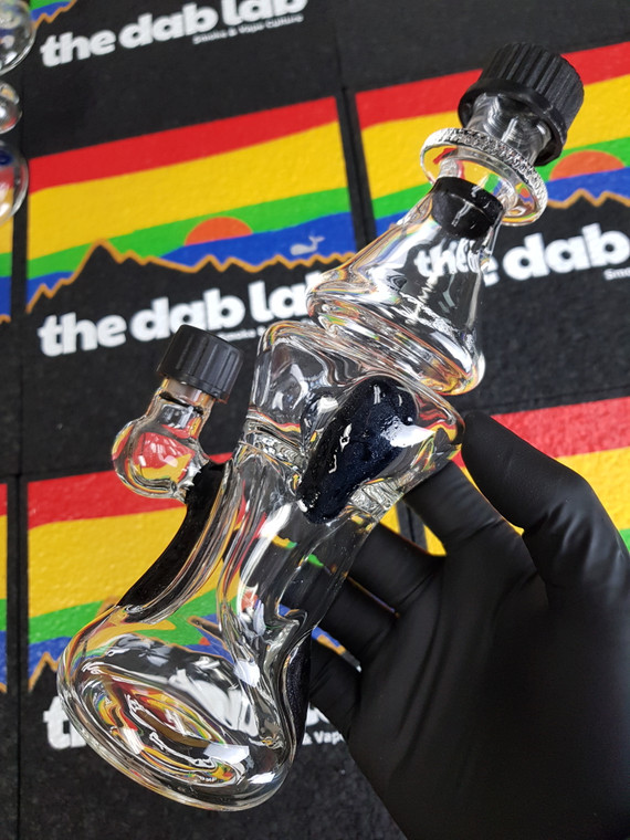 MOOCAH x NAMELESS GLASS  - Double Uptake Recycler Rig w/ 10mm Joint & Screw-On Caps - Galaxy Sparkle Black