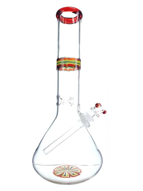 HVY GLASS  - Flame & Flower Beaker Bong - #1