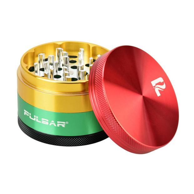 """PULSAR - Rasta 4-Piece Grinder - 2.5"""""""